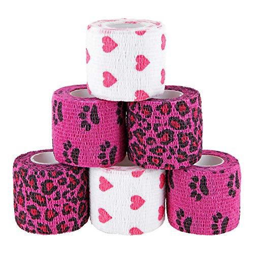 Paws & Patch 6er-Set selbsthaftender Verband für alle Haustiere (Hunde, Katzen, Pferde) I Herz Box I kohäsive Bandagen I Tierverband I Fixierbinden I Pet Vet Wrap I Tapes I 5cm x 4,5m -