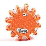LED Batterie Warnleuchte Warnblinkleuchte mit Magnet und 12LEDs für Auto Notfall Pannenhilfe (orange)