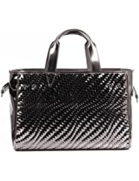 ARMANI JEANS Woven laminated faux leather Shopping bag