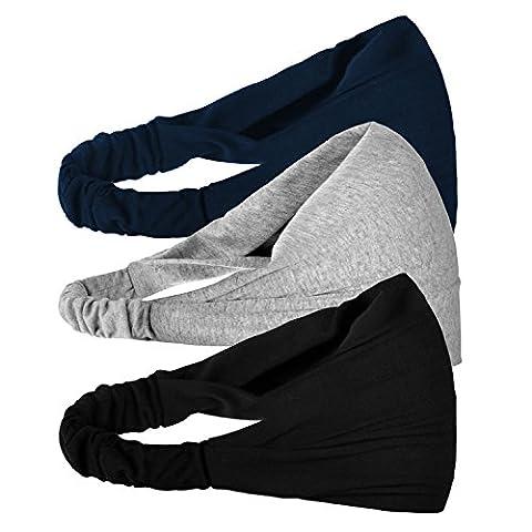 Enveloppements de tête Bandeau Cheveux oreille de Bande Élastique Cheveux Accessoire pour Femme Yoga Sport 3 Pièces t