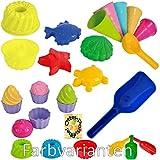 Sandspielzeug: 4 Sandförmchen + 1 Kuchen-Sandform + 5 Eistüten + 1 Portionierer + 8tlg. Cup Cake + 1 Mehlschaufel Sandförmchen Sandkasten