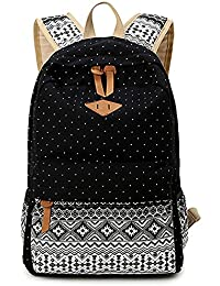 5 ALL Sac en Toile Cartable College Fille Adolescents Sac à Dos Folk-Custom  Femmes Impression Mode Multifonctionnel-Camping… 1b87176faee8