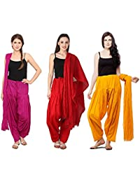 Fashion Store Women Cotton Patiala Salwar With Dupatta Combo Of 3 (Free Size Red- Pink & Mustered Yellow )