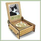 TROSTLICHT   Trauerkerze Katze   personalisiert mit Foto & mit Namen   Holz-Box mit Spruch & Pfote   Andenken Katze Erinnerung   Trauer Haustier