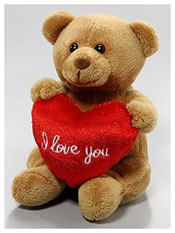 Peluche Ours en peluche avec coeur, 13cm [Jouet]
