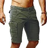 Leif Nelson Herren Cargo Hose Shorts Sommer Kurze Hose Chino Bermuda Stretch Slim Fit LN1345; W32; Khaki