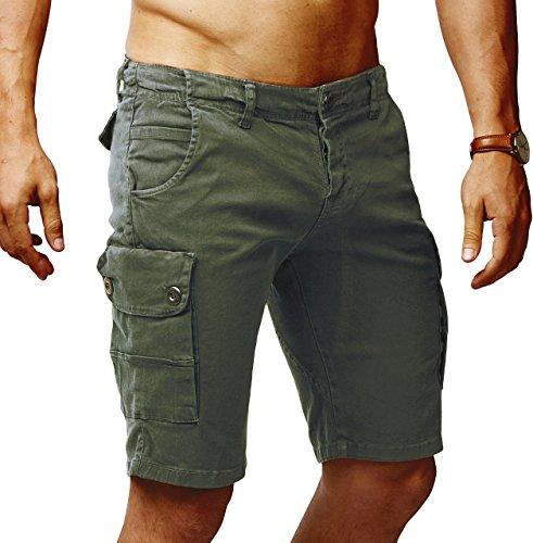 LEIF NELSON Herren Cargo Hose Shorts Sommer Kurze Hose Chino Bermuda Stretch Slim Fit LN1345; W36; Khaki