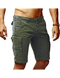 92fe7d55c27d LEIF NELSON Herren Cargo Hose Shorts Sommer Kurze Hose Chino Bermuda  Stretch Slim Fit LN1345