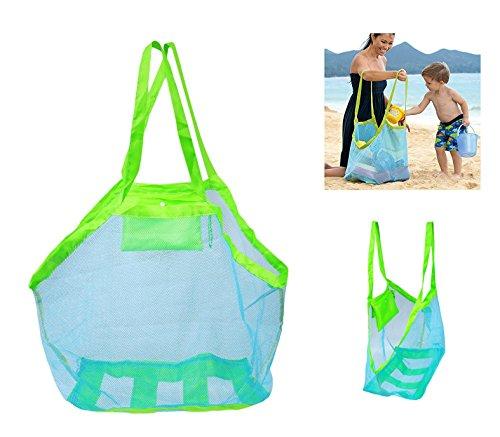 OurKosmos® Extra Large Familie Mesh-Strand-Tasche Sand Spielzeug-Speicher-Organisatortote Rucksack Spielzeug Handtücher Sand Away (blau)
