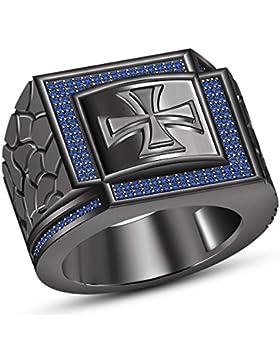 Vorra Fashion Kreuz Biker Style Herren 925Silber schwarz rhodiniert Band Ring mit eingebetteten rund blau Saphir