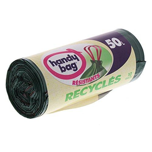 Handy bag - Bolsas de basura con el desplazamiento de asas reciclado 50 l 68 x 73 cm/10 x paquete de 2