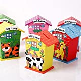 home buy Piggy Bank for Kids Wood House Animal Designs, Multi Color Perfect Return Gift for Kids Birthday Party (Set of 3 PIC