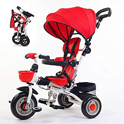3 In 1 Tricycle 6 Months To 5 Years Detachable And Adjustable Push Handle Childrens Tricycles 3-Point Safety Belt Blockable Rear Wheels Folding Sun Canopy Kids' Trikes Maximum Weight 25 Kg,Red-OneSize
