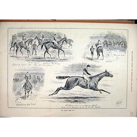 Impresión Vieja 1884 del Desfile de Simon de la Taza del Oro del Fular de la Carrera de Caballos [Cocina y Hogar]