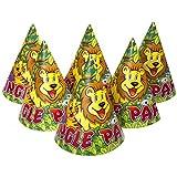 Masti Zone Pack Of 10 Jungle Theme Animal Printed Happy Birthday Party Caps /Hats For Kids / Boys /Girls,Children Birthday Party Celebration Item
