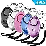 DAMIGRAM 5 PCS Alarma Personal, llavero electrónico de la alarma del dispositivo de la autodefensa 130db con la luz del LED para las mujeres/los niños/las muchachas/los ancianos/la seguridad