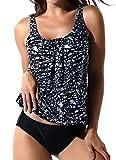 FITTOO Damen Push Up Elegante Figurumspielender Raffinierter Top + Slip Tankini Blumen Muster 02 XL