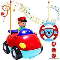 Estela Coches Teledirigidos, Coches RC Radio Control Remoto Coche Tren con Música y Luces para Bebés Niños (Red)