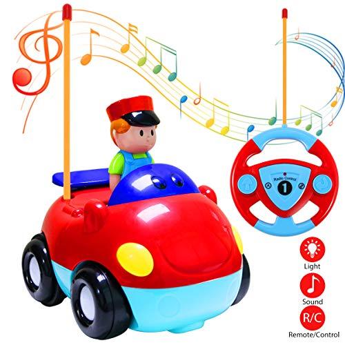 Kleinkind Für Fischer Kostüm - Estela RC Cartoon Autos, Radio Kontrolle RC Rennauto Spielzeug Cartoon Action Figur Radiosteuerung Radio kontrollierte Autos mit Musik für Kinder Baby (Red)