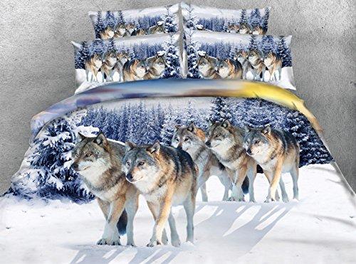 LifeisPerfect 5 Stück 3D-Tier Tröster Set Luxus Schwarz Betten mit Federbett Legen Sie Wolf Leopard Bett in Einem Beutel Einzigen vollständigen Queen Super King Size (Queen-size-bett In Einem Beutel)