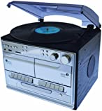 Steepletone SMC386 Compact - SILVER - USB Recordable 5-in-1 Music System, with 3 Speed Turntable (MP3 USB Turntable), CD Player, MW-FM Radio, Twin Cassette Player And Recorder Built in Speakers