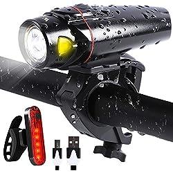 LED Fahrradbeleuchtung Set StVZO Zugelassen, Fahrrad Licht Akku USB Wiederaufladbare, Frontlicht und Rücklicht Fahrradlichter Set für Radfahren, Wasserdicht Fahrradlampe Taschenlamp Set (Schwarz)