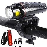 LED Fahrradbeleuchtung Set, Fahrrad Licht Akku USB Wiederaufladbare, Frontlicht und Rücklicht Fahrradlichter Set für Radfahren, Wasserdicht IPX5 Fahrradlampe Taschenlamp Set (Schwarz)