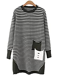 ZGJQ Ladies Sweater Knit Jacket Women s T-Shirt Plus Fat To Increase The Striped  Thin 29be1bdae