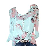 NEEDRA Sales Blouse Shirt Women Full Size 8-22 S-XXXXXL Cotton Off The Shoulder Bardot Plus Size Floral V-Neck Blouses Tops T Shirt (Mint Green, UK 14(XL))