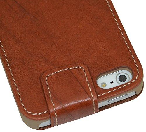 iPhone se   iPhone 5S   Suncase Original Étui à rabat style en cuir * Cuir véritable * Wash Braun