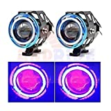 #5: Andride 2 Pieces U11 Cree-Led - Head Hunters Led Projector 3000Lmw Headlight Fog Lamp (Dual Ring Red Blue) Fog Light (Red And Blue)