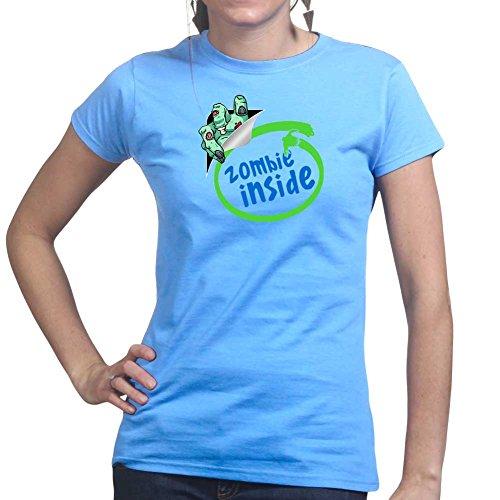 Womens Zombie Inside Halloween Walking Dead Ladies T Shirt (Tee, Top) Light Blue