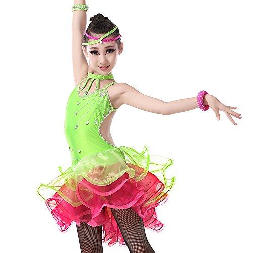 YI WORLD Weibliche Latin Dance Kleidung Kind Tassel + Spandex Kleid gelb Rose rot grün,Green,XL (Zeitgenössischer Tanz Kostüme Schwarz)
