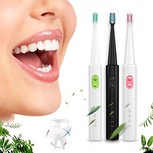 TENGGO Travel Wiederaufladbare Ultraschall-Elektrische Zahnbürste Wasserdicht 3 Reinigungs-Modus Zähne Sauber + 4 Köpfe-Schwarz