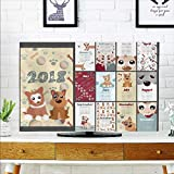 aolankaili Protect Your TV The Year Dog Year Illustration Desk Calendar Template Protect Your TV W32 x H51 INCH/TV 55'