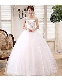 Vestido de Novia, Elegante Un Hombro con Lentejuelas Cinturón de Flores Lujoso y Slim Fit Iglesia Casarse con…