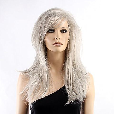 Stfantasy des Perruques pour femme longue lisse résistant à la chaleur Cheveux synthétiques 50,8cm 162G avec frange Perruque Peluca gratuit Cheveux Net + Clips, Marron et gris