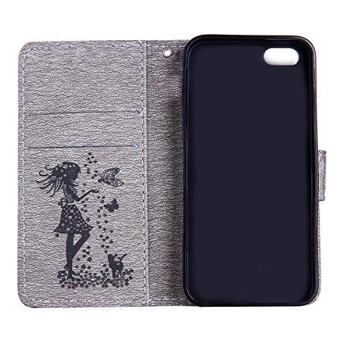 EKINHUI Case Cover Für Apple IPhone 5s SE Fall, geprägtes Mädchen Muster Strass Premium PU Leder Geldbörse Fall Flip Stand Fall Deckung mit Halter & Lanyard & Card Slots ( Color : Darkblue ) Gray
