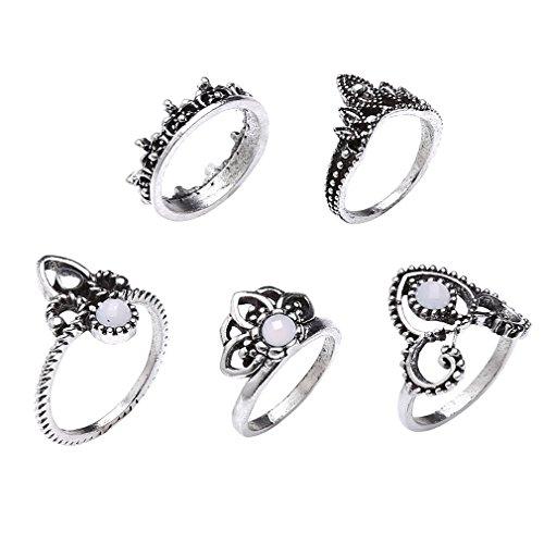 lnlyin Frauen 5PCS Vintage Gelenk Ring Set Jewel Hohl Out Geschnitzte Blume Ringe Midi Ringe Set