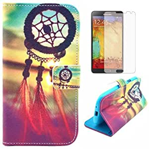 Semoss Attrape Reve Coque Cuir Plume Etui Housse pour Samsung Galaxy Note 3 N9000 N9005 PU Dream Catcher Flip Portefeuille Case Cover Feather Folio Wallet Skin avec Fonction Stand / Carte Credit Holder+Protecteur d'ecran