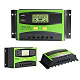 30A Solar Ladegerät Controller Solar Panel Batterie Intelligente Regler mit USB Port Display 12V/24V (30A Controller Green)