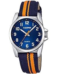 Calypso Montre enfant adolescents Junior Collection analogique Quartz cuir textile bleu orange UK5707/4