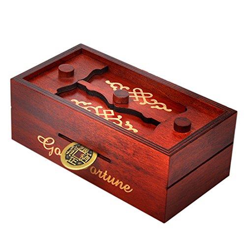 Puzzle Box Holz, Lommer 3D Puzzle Geheimnis Trick Box Knobelspiele Holz Geschicklichkeitsspiele Geduldspiele Secret Box Trickspiel IQ Box für Kinder und Erwachsene (Rotbraun)