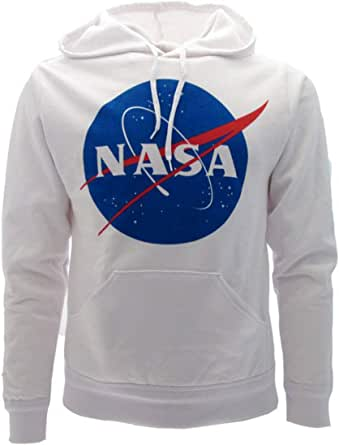 Sabor srl Felpa NASA Uomo Originale Bianca Ufficiale con Cappuccio e Tasca Adulto