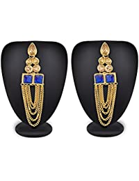 The Luxor Stylish Partywear American Diamond Gold Plated Tassel Jhumkhi Earrings For Women