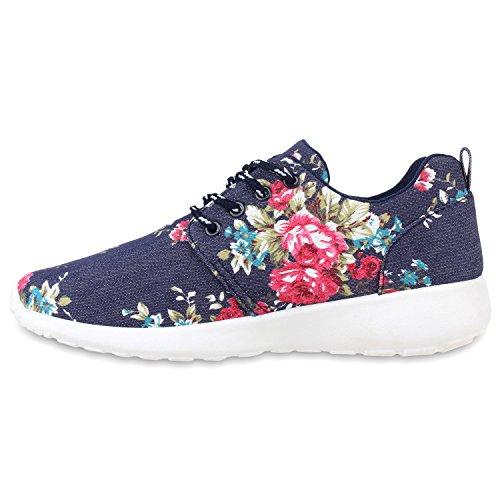 Herren Sportschuhe Muster | Laufschuhe Übergrößen | Sneakers Profilsohle | Blumen Runners Marine Blau Blumen
