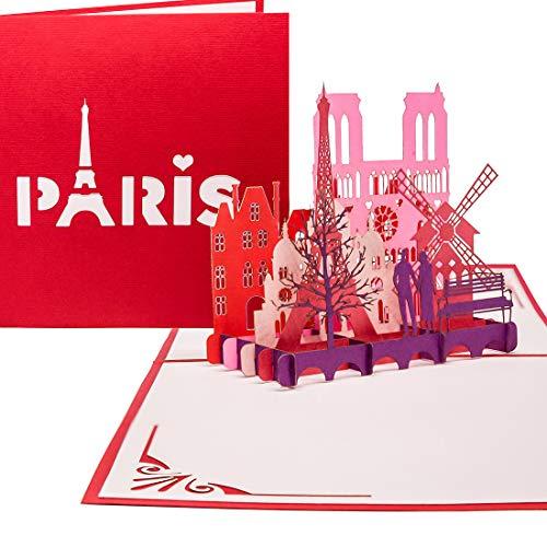 """Pop Up Karte""""Paris - Je t'aime"""" - 3D Klappkarte Paris & Eiffelturm als Valentinskarte, Reisegutschein & Geschenkverpackung - 3D Karte zum Städtetrip & Hochzeitsreise Paris"""