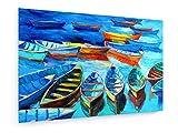 weewado Boyan Dimitrov - Les Bateaux et la mer sur Toile - 75x50 cm - Impression sur Toile - Art Mural - Tableau, Poster, Affiche, Décoration d'intérieur - Plage