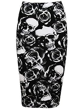 Señoras leopardo rayas calavera huesos impresiones alta cintura animada Tubo para mujer ajustado Bodycon lápiz...