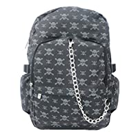 BLACK GREY SKULL Backpack Rucksack | Cross Bones Pirate | School College Goth Rock Emo Skate Bag